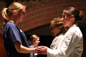 Ninety-four Saint Anselm student nurses had their hands bless in preparation for the start of their clinical experience