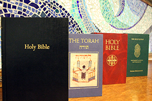 Four religious texts on display
