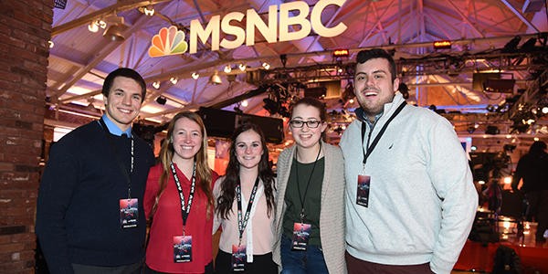 Saint Anselm students working as MSNBC runners