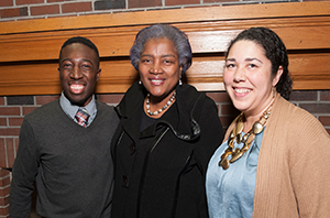 Donna Brazile at Saint Anselm College with 2017 Social Justice Award Recipients Donald Stokes and Loretta Brady