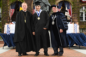 Graduate Nicholas Bompastore received Chancellor's Medal for highest GPA
