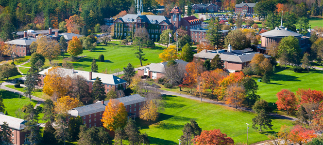 An aerial view of campus in the fall
