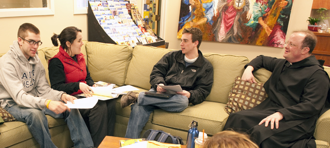 students in the campus ministry office