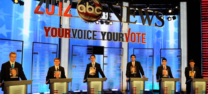 Students stand in for candidates on the ABC debate stage