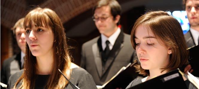 Students perform in the college choir at the Abbey Church